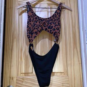 Cheetah Print High Waisted Swimsuit